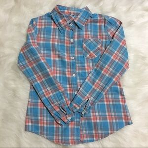 Tops - Blue and pink plaid button down shirt